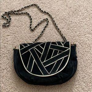 Mango Black Leather Crossbody Chain Bag Purse